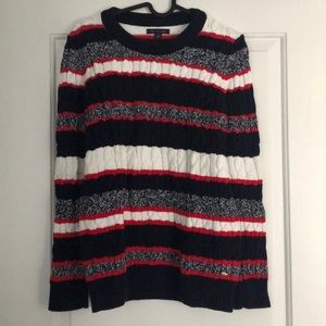 Tommy Crewneck Striped Cable-Knit Sweater